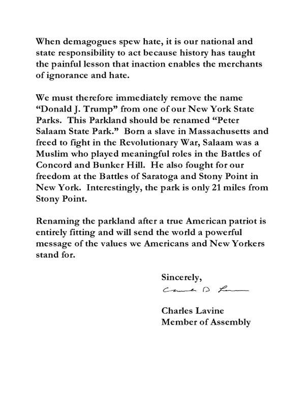 state park untitled gov letter