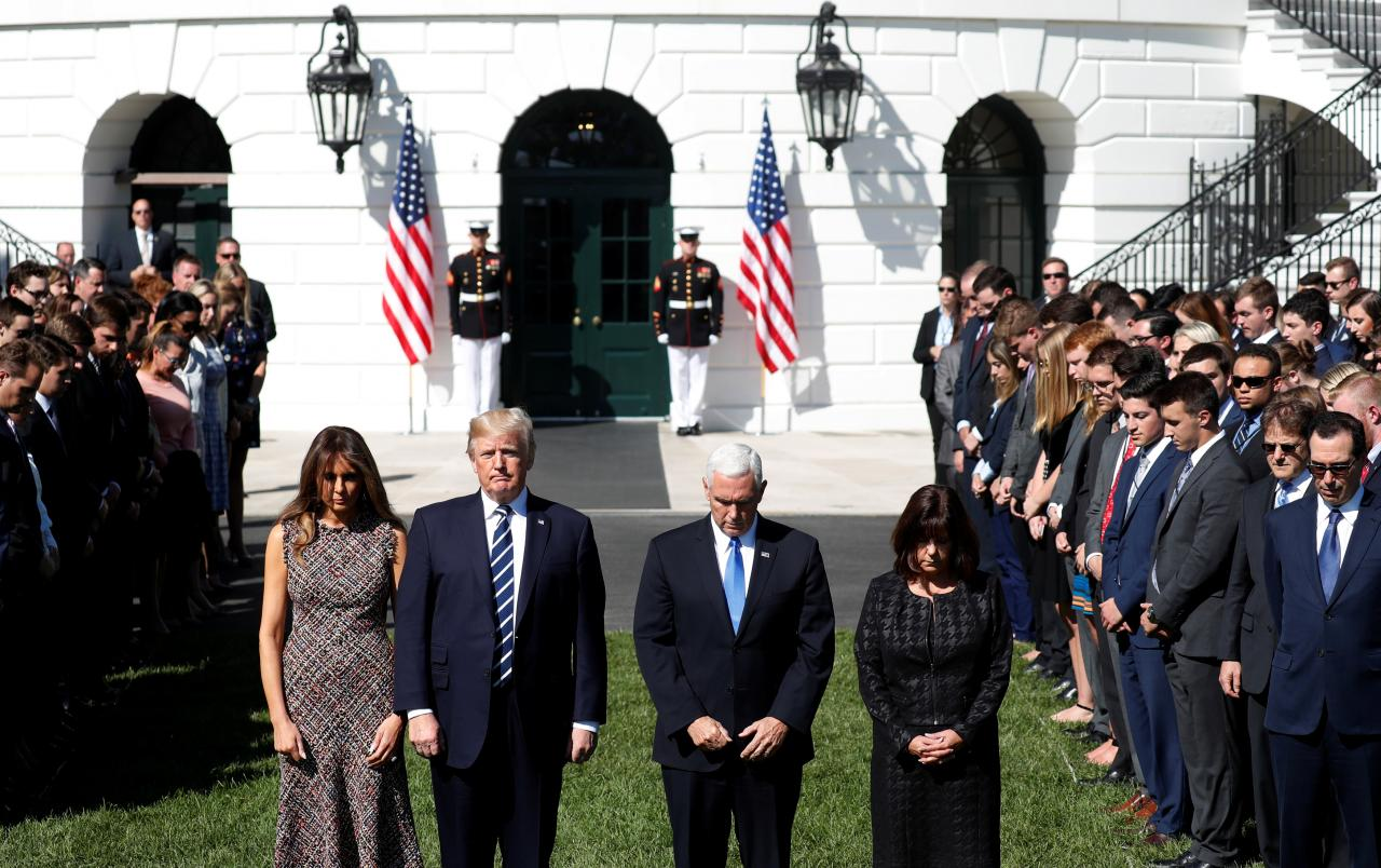 U.S. President Trump leads moment of silence in the wake of the Las Vegas shooting at the White House in Washington