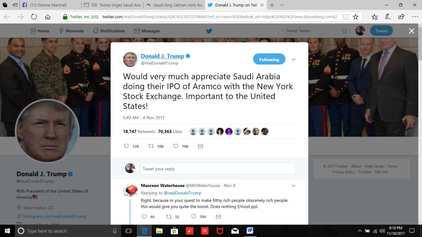 trump saudi stock exchange