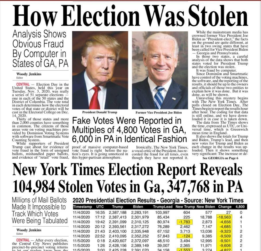 front page news how election was stolen