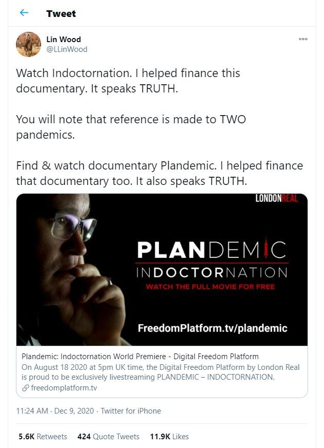 lin wood knows plandemic is part of the war plandemic indoctornation are you going to allow it
