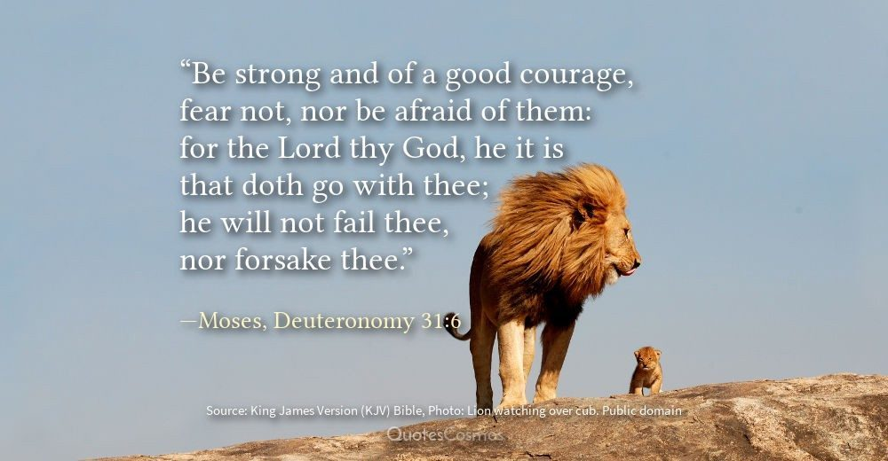 Be strong and of a good courage, fear not, nor be afraid of them: for the  Lord thy God, he it is that doth go with thee; he will not fail thee,