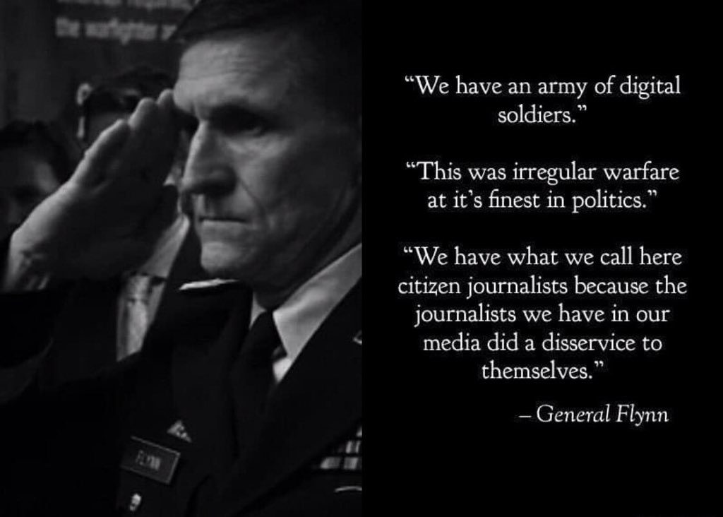 """DISINFORMATION IS NOT HELPFUL!  GENERAL FLYNN SAYS HE IS NOT """"Q""""."""